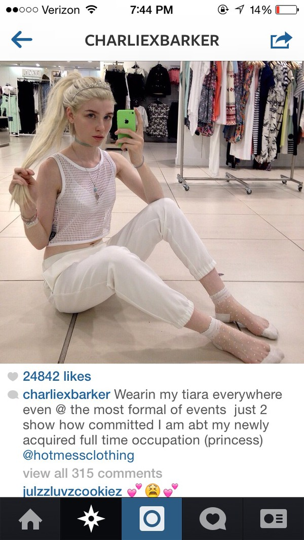 socks instagram blonde hair charlie burker tiara eyebrows polka dots see through pants