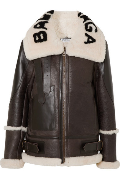 Balenciaga - Le Bombardier Oversized Shearling Jacket - Brown