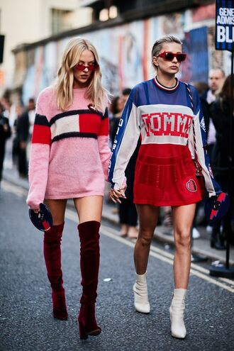 sweater over the knee boots tumblr tommy hilfiger pink sweater sweater dress dress mini dress boots red boots over the knee velvet over the knee boots white boots ankle boots streetstyle
