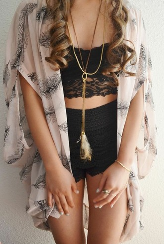 tank top crop tops kimono lace shorts summer top summer shorts spring cardigan feather necklace