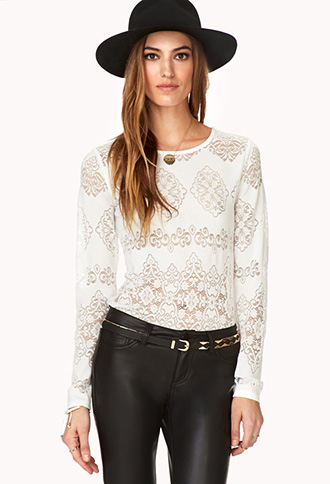Regal Cutout Damask Top | FOREVER21 - 2000066171