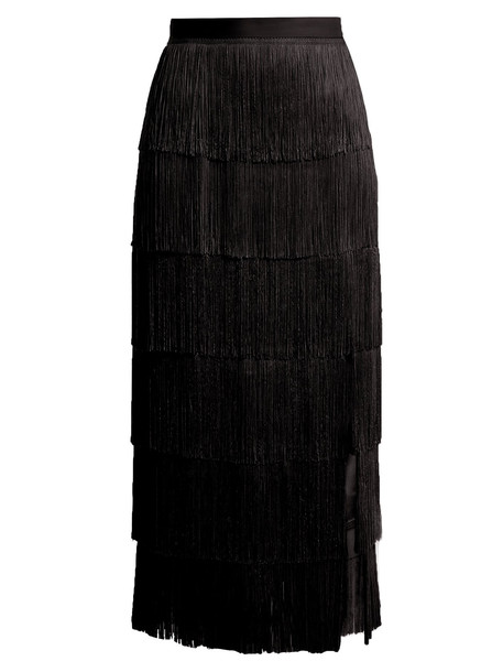 RAEY Slit-front fringed silk midi skirt in black