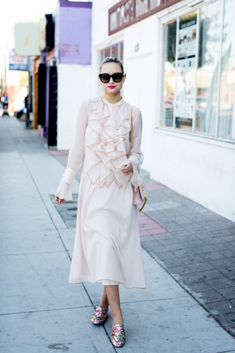 late afternoon blogger dress shoes bag sunglasses jewels ruffle dress cream dress gucci shoes gucci princetown