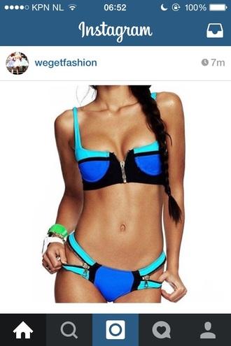 swimwear bikini bikini bottom bustier zip balconette turqoise bikini top