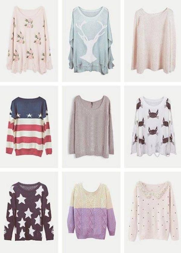 sweater flowers deer shirt pink american flag american flag shorts stars cats purple sweater polka dots cute kawaii shirt