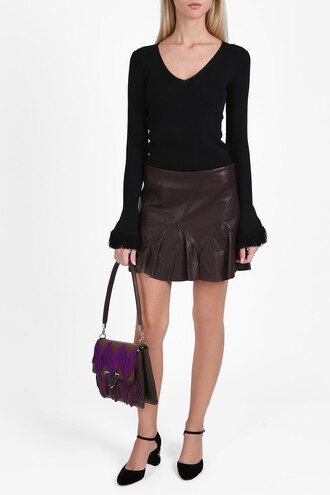 skirt mini skirt mini women leather brown