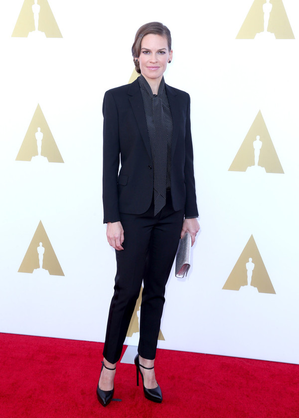 suit pants jacket fall outfits business clothes hilary swank
