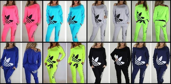 turquoise sweater jumper top blue jumpsuit adidas off the shoulder off the shoulder sweater jacket pants sweatsuit tracksuit neon yellow pink lime black navy