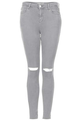 MOTO Grey Rip Leigh Jeans - Jeans - Clothing - Topshop