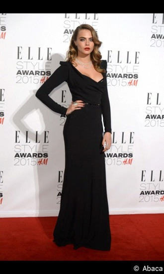dress cara delevingne black long dress elle style awards