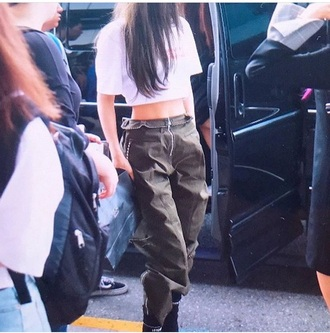 jeans pants blackpink #jennie #redcarpet green joggers zip zipped pants dark green