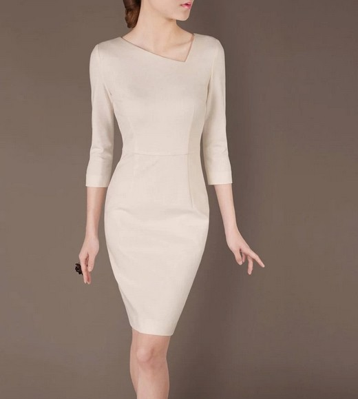 Beige Elegant Noble Summer OL Slim Short Sleeve Women Fashion Dress lml7018 - ott-123 - Global Online Shopping for Dresses
