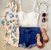 cardigan,shoes,floral kimono,bustier crop top,denim shorts,blouse,white,crop tops,crochet,top,ivory,floral shirt,white crop tops,white top,shorts,brown,sandals,sunglasses,headband,hair accessory,jewels,jewelry,outfit,clothes,tank top,jacket,kimono,ring,spring,hippie,care,free,shirt,black dress,bikini,summer dress,cute dress,fashion,bustier,floral,lace,High waisted shorts,bustier top,flowers,summer,cute,blue,spring outfits,flowered top