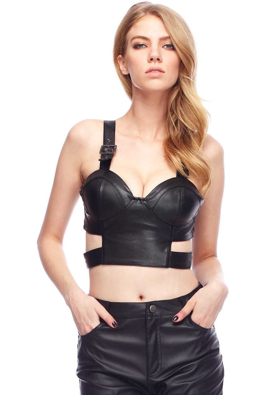 ROMWE | Cut-out Black Fake Leather Bandeau, The Latest Street Fashion