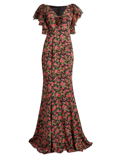 Dolce & Gabbana gown chiffon rose print pink dress