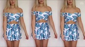 dress,blue and white,two-piece,mini dress,summer dress