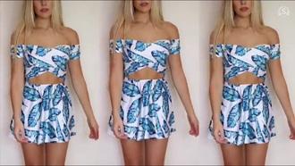 dress blue and white two-piece mini dress summer dress