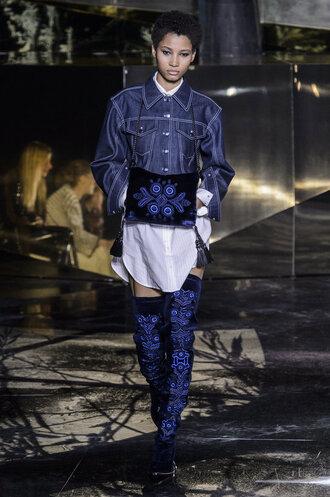 jacket shirt shirt dress boots purse runway model fashion week 2016 paris fashion week 2016 h&m over the knee boots denim jacket