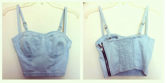tank top singlet pretty denim crop tops bustier