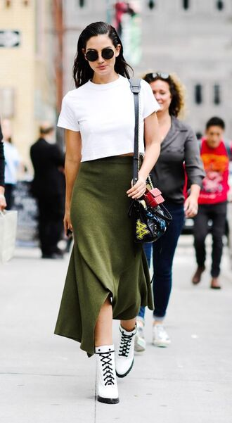 skirt asymmetrical asymmetrical skirt boots lily aldridge model off-duty streetstyle nyfw 2017 ny fashion week 2017 top shoes