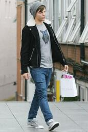 coat,louis tomlinson,one direction,black,sheepskin,fall outfits