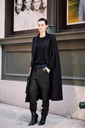 vanessa jackman,blogger,long coat,black,boyish,androgynous,non-binary,equality