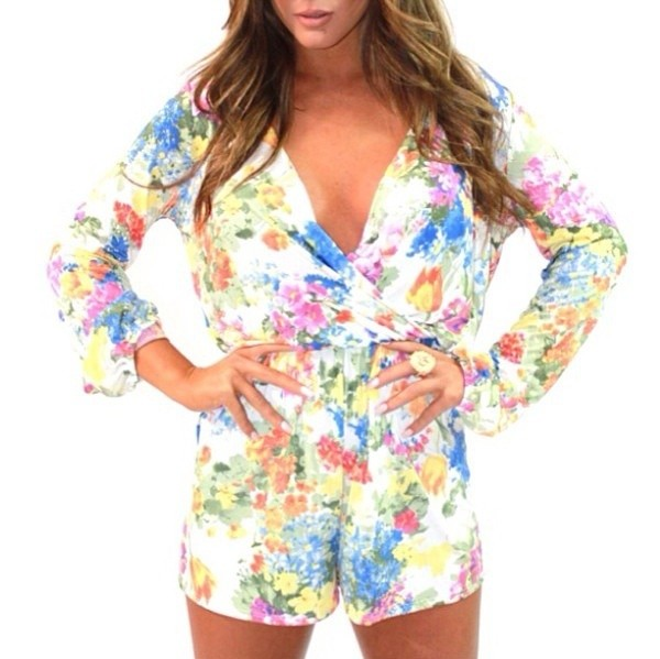 shorts flowers jumpsuit