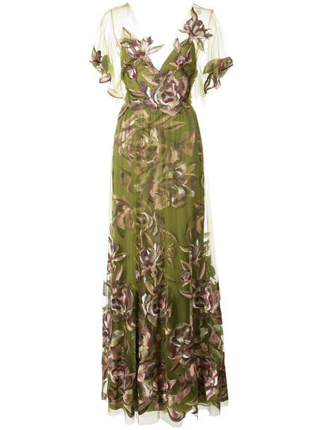 Marchesa Notte dress evening dress women floral green