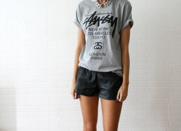 t-shirt top grey black print quote on it stussy shorts shirt