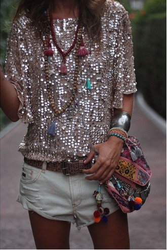 top sequin sequin top gold sequins baggy t shirt boho style