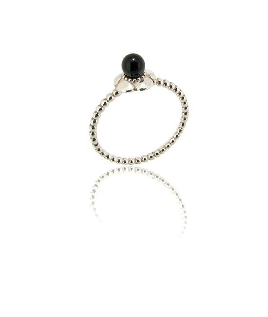Flower Black Pearl | Silver Ring | Silver Jewellery | Stack Rings | BOHEM