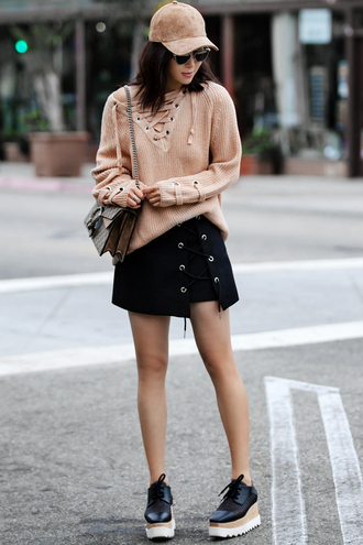 fit fab fun mom blogger sweater skirt bag shoes suede cap nude lace up gucci shoulder bag mini skirt lace up skirt black sneakers aviator sunglasses nude sweater beige baseball hat