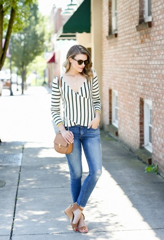 pennypincherfashion blogger sweater jeans shoes bag jewels sunglasses sandals wedge sandals shoulder bag striped top skinny jeans