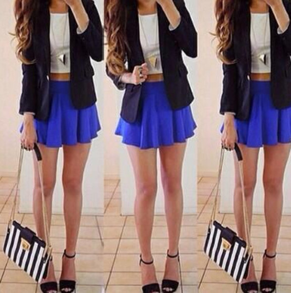 skirt white top bag shoes high heels black blazer black heels necklace long necklace hair