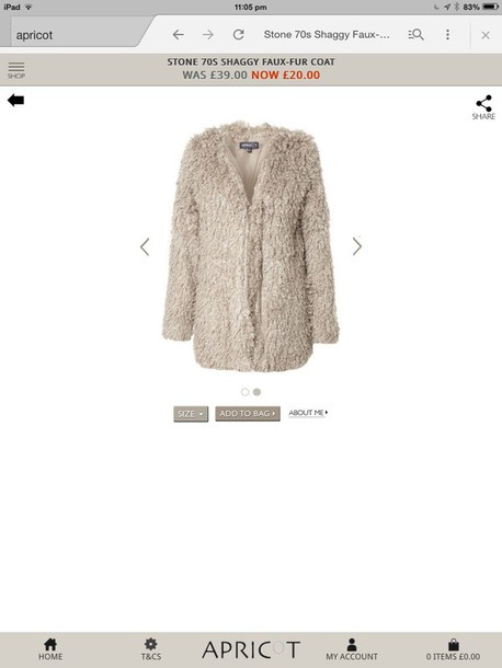coat cream shaggy faux fur coat