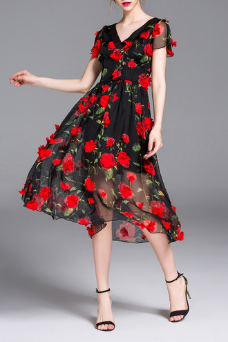 dress red dress black dress floral summer trendy spring beautiful dezzal