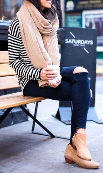 scarf oversized scarf knitted scarf beige scarf ripped jeans skinny blue jeans skinny jeans striped sweater camel boots