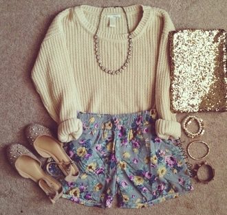 shorts pretty shorts floral shorts cute shoes sandals diamond necklace necklace knitted sweater knitwear bangles jewelry glitter clutch sweater shoes bag jewels bracelets jewellery