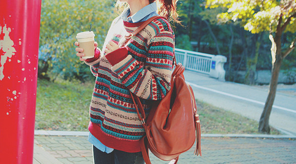 sweater girl beautiful hair fashion hipster colorful cute image love photography teenagers asian pattern clothes winter sweater fall outfits colorful turquoise cream print oversized stripes style indie knitwear axtec pullover yellow