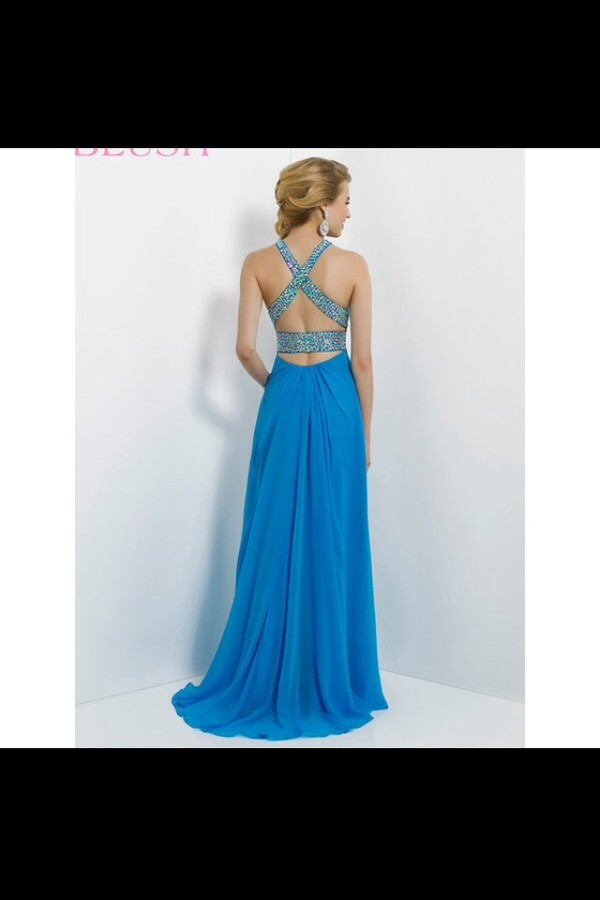 dress gown blue gown open back