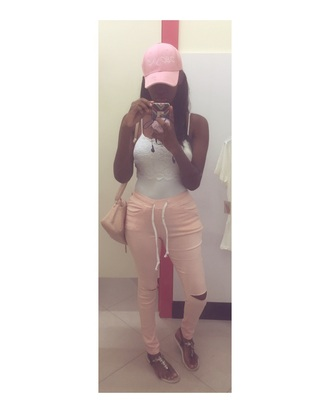 pants pink pants drawstring pants