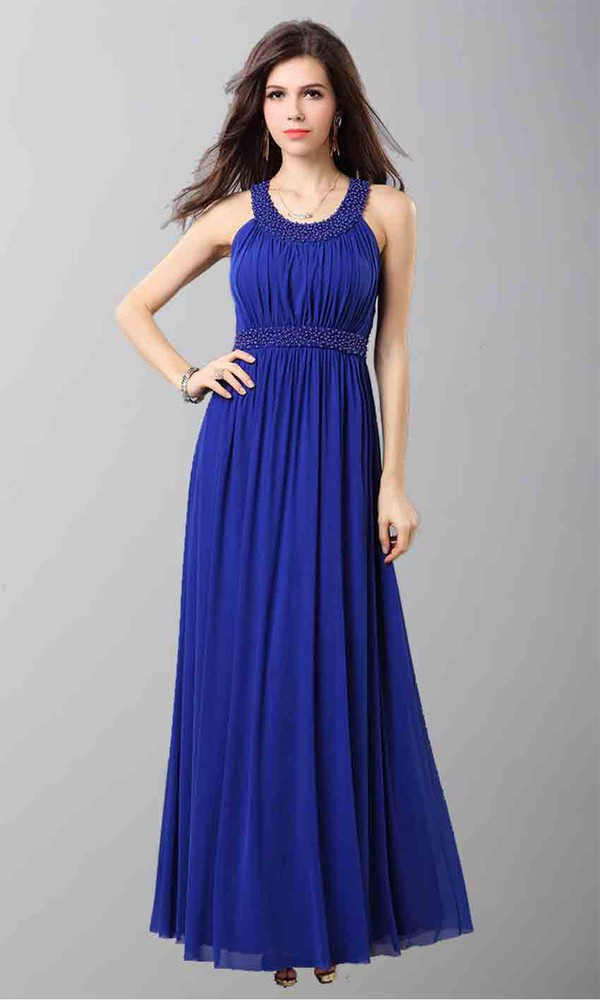 blue dress round neck beading prom dress long prom dress long formal dress