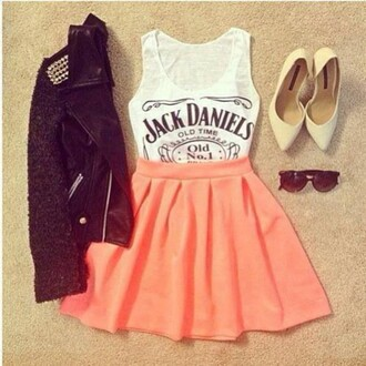 t-shirt tank top jack daniel's leather jacket skirt skater skirt outfit outfit idea tumblr outfit