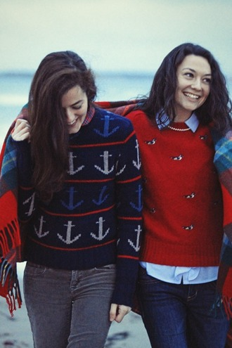 sweater clothes birds top hipster holiday season classy anchor