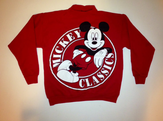 Vintage Walt Disney RED MICKEY MOUSE Classic Crew by FisforFRESH