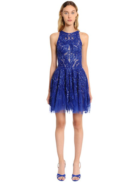 ZUHAIR MURAD Floral Beaded Tulle Dress in blue