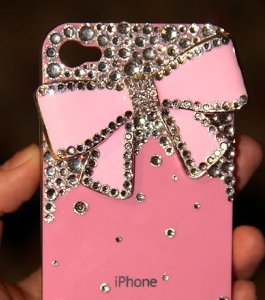 Amazon.com: Bling Bling iPhone 4G/4S Crystal Diamond Bow Tie Pattern Hard Case/Cover/Protector(Pink Bow with Pink Case): Cell Phones & Accessories