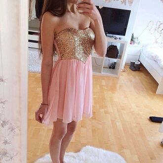 dress dance dress gold gold sparkles light pink dress light pink