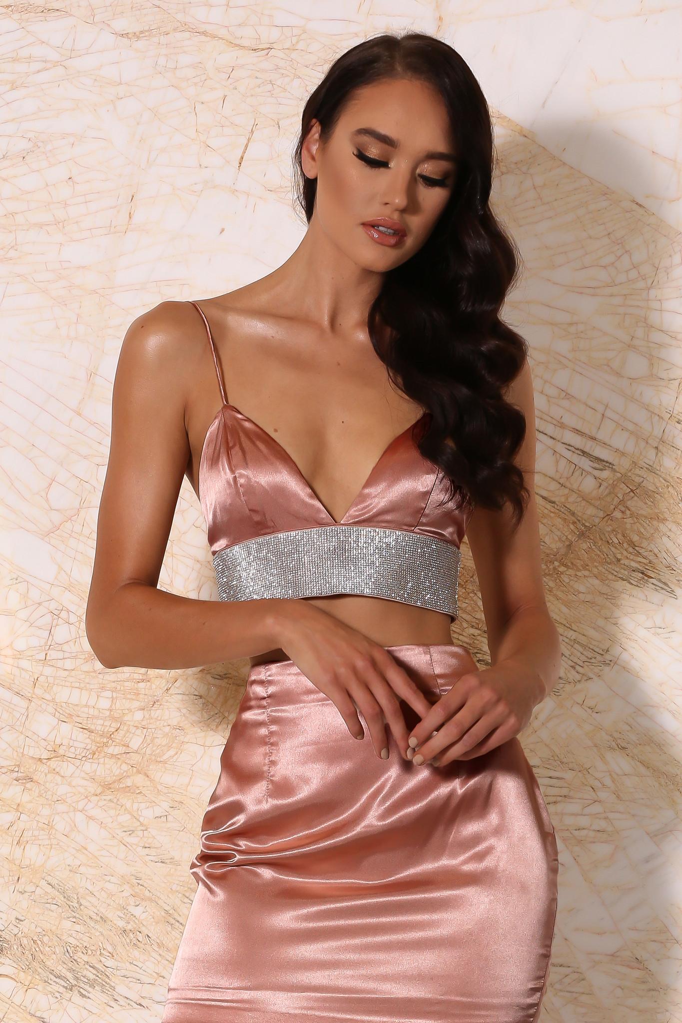5e40b7098f Ilona Satin Diamonte Bralette - Rose Gold