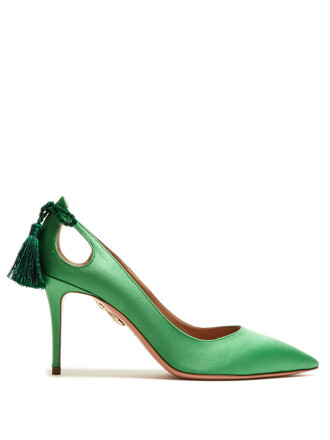 forever 100 pumps satin green shoes